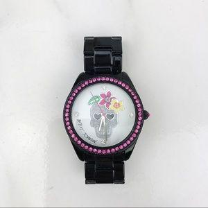 Betsey Johnson Skull Black Link Watch Sparkle